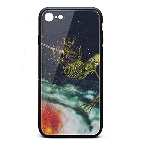 Phone Case for iPhone6/6s Plus Printted Trippy Skull Flamingo on Outer Space Tempered Glass Black Anti-Scratch TPU Rubber Bumper Shock Protector for Man's Attractive Women Back Cover ()
