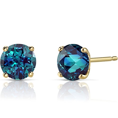 - 14K Yellow Gold Round Cut 2.00 Carats Created Alexandrite Stud Earrings