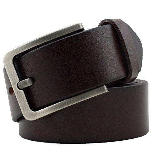 [Kaleido Men's 38mm Silver Buckle Leather Belt Brown 34-36] (Brown Leather Belt Silver Buckle)