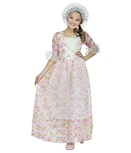 [Colonial Lady Child Costume Pink / White / Green (Large)] (Colonial Costumes Dress Lady)