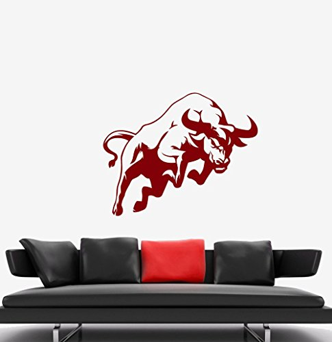 BorisMotley Wall Decal Red Bull Vinyl Removable Mural Art Decoration Stickers for Home Bedroom Nursery Living Room Kitchen ()