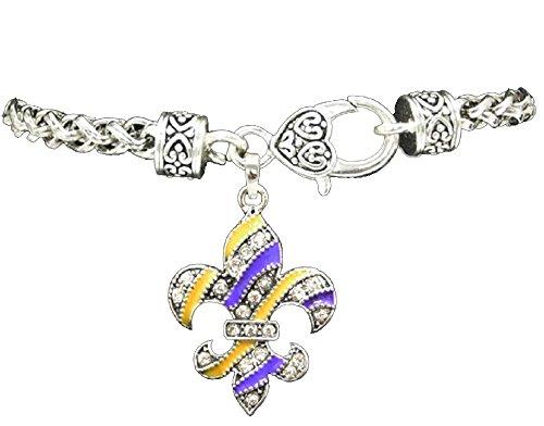 (LSU PURPLE & GOLD FLEUR De Lis Charm Bracelet Embellished with Crystal Rhinestones.Gift Boxed )
