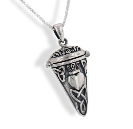 Celtic Knot Claddagh Perfume Vial - Poison Jar - Urn Pendulum Pendant w/18 Necklace - Sterling Silver Celtic Pendulum