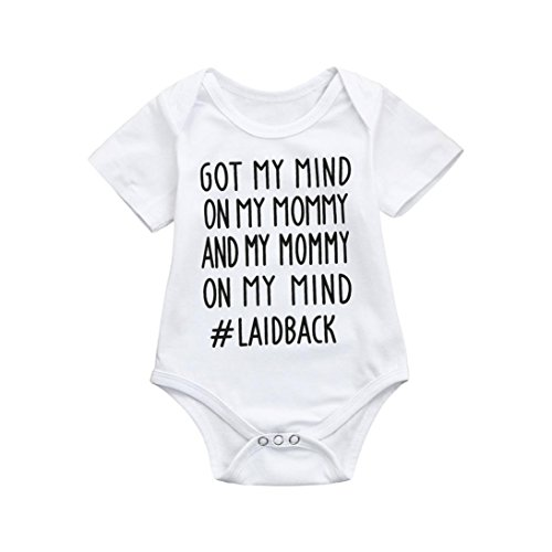 Lavany Baby Romper Cotton Sweet Saying Print Cute Toddler Boy Girls Jumpsuit Outfits (6-12 Months, (Cheap Baby Items)