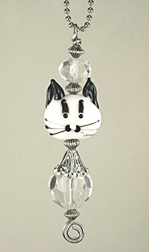 Rear View Mirror Car Accessory Ornament Clear and White Glass Double Sided Cat Face ()