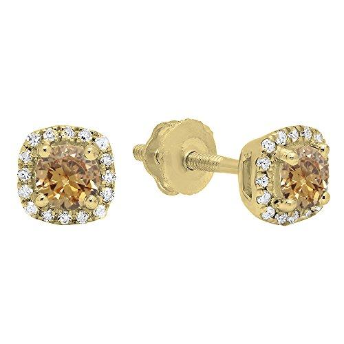 - 0.45 Carat (ctw) 10K Yellow Gold Round Champagne & White Diamond Ladies Halo Stud Earrings 1/2 CT