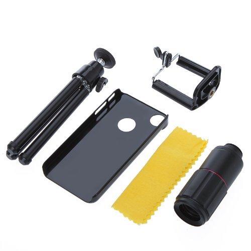TOOGOO(R) 8-fache Vergroesserung Handy-Teleskop Magnifier Optical Kameraobjektiv mit Stativ + Halter + Case fuer iPhone 4 4S Schwarz