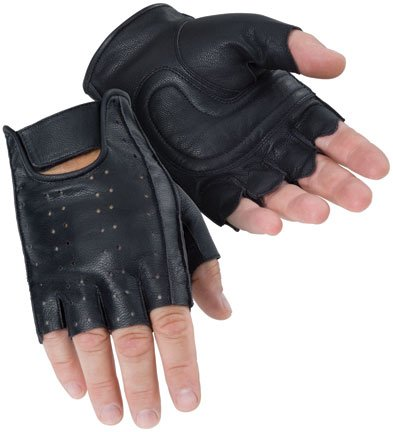 Tour Master Select Fingerless Men's Leather Touring Motorcycle Gloves - Black / Large