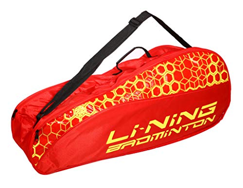 (Li Ning Badminton Racket Bag Double Compartment Kitbag with Handle Shoulder Strap Carries 4+ Racket Accessories (Red) )
