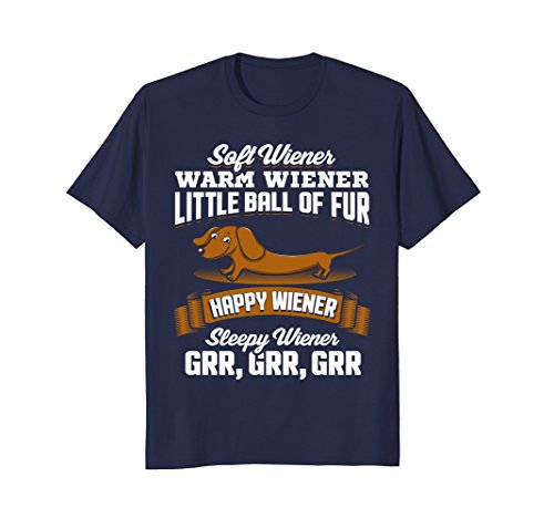 Mens Soft Wiener Warm Wiener Funny Dachshund Dog T-Shirt 3XL Navy