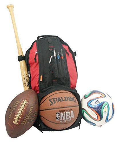 Football Backpack (K-Cliffs Baseball Backpack Softball Daypack Basketball Volleyball Backpack Football Soccer Bag w/ Ball Storage Helmet Compartment & Bat Holder & Coin Phone Pouch - Black/Red By Praise Start)