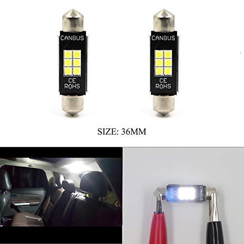 Dome Read Light Map Door Light 6SMD 36MM 3020 Chipset LED Brake Trunk Bulb Lights 6418 Xenon White Signal Light (Set of ()