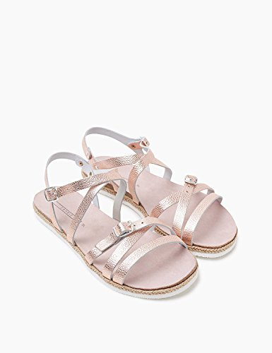 Women's Esprit Leather Leather Metallic Beige Women's 100 Pink Sandals awxFd7qSnw
