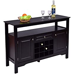 Giantex Black Buffet Server Wood Cabinet Sideboard Cupboard Table with Wine Rack
