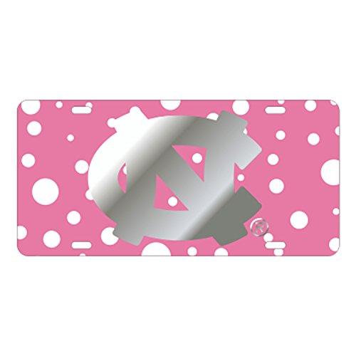 University of North Carolina Tar Heels Laser Cut Mirrored NC Pink Polka Dot License Plate