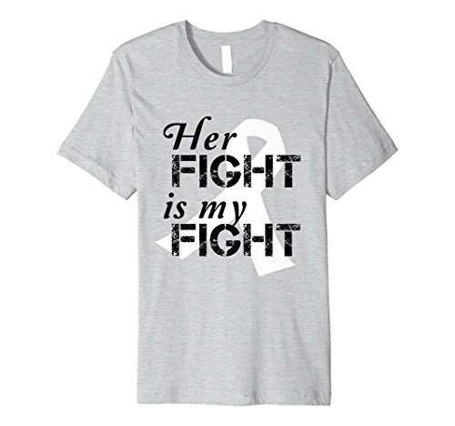 Mens White Ribbon Lung Cancer Awareness Her Fight T-Shirt 2XL Heather (Lung Cancer Awareness Ribbon)
