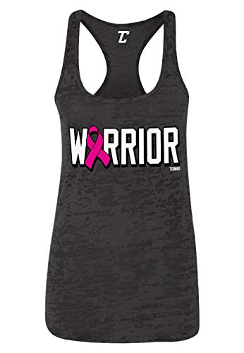 Warrior - Pink Ribbon Breast Cancer Women's Racerback Tank Top (Black, X-Large)