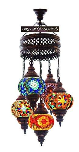 - Mosaic Chandelier, Filigree Copper Mosaic,Mosaic Lamp,Turkish Lamp,Moroccan Lantern