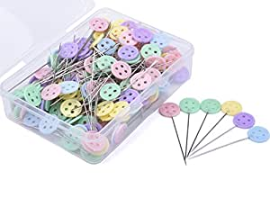 JoyFamily 200 Pieces Flat Button Head Pins Boxed for Sewing DIY Projects (Assorted Colors)