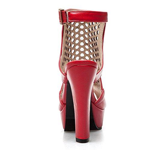 Coolcept Women Block Heel Sandals Open Back Red OAunSyW