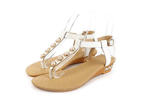 Amoonyfashion Kvinna Delad Tå Låga Klackar Mjukt Material Fast Spänne Vippan-sandaler Vita