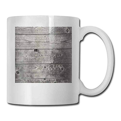 Ceramic Cup Dark Grey Ombre Style Grunge Wooden Planks Rustic Timber Oak Wall Rough Texture Image Color Elegant 11 oz Black Pale Grey