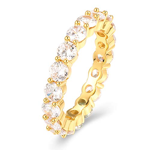 PY Bling Fashion Eternity Cubic Zirconia CZ Ring White Gold/Gold Stackable Unisex Wedding Band Tennis Ring 1, 2 Row