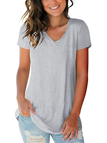 Women Casual Shirts Short Sleeve V Neck Summer Tops Country Teeshirts Grey L