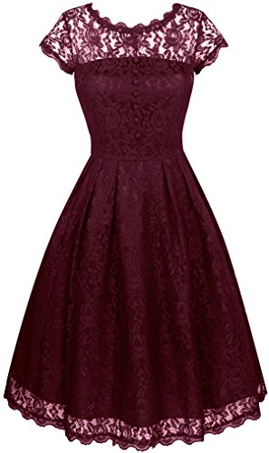 Angerella Women's Retro Floral Lace Cap Sleeve Vintage Swing Bridesmaid Dress