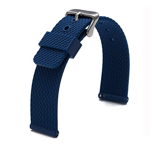 Carty Soft Rubber Silicone Watchbands Diver Watch Band Quick Release Spring Bars 18mm Watch Strap Blue