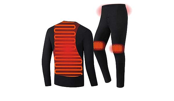 YANYUN Electric Heating Thermal Underwear Set USB Heated Underwear For Men Winter Warm Fleece Lining Long Sleeve Top And Pants Set,Grey-M