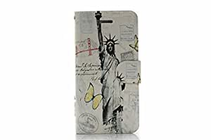 """Classic Vintage Statue of Liberty Pattern Folding Stand Flip Case Cover Skin Protector Cards Holder for iPhone 6 Case 4.7"""""""