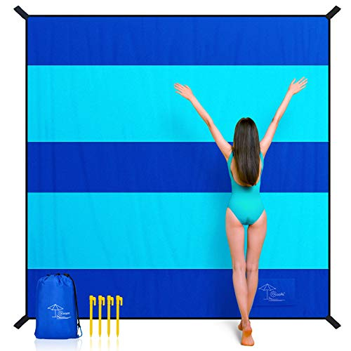 OCOOPA Beach Blanket Sand Free, Super Large 10x9.2ft, Sandproof Waterproof, Soft Comfortable Durable Material, Wide Stripe Design, Light Weight Compact for Picnic, Vacations