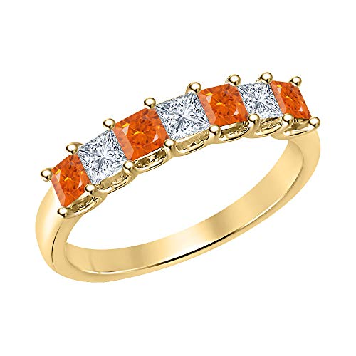 Princess Cut Orange Sapphire & Diamond Half Eternity 14k Yellow Gold .925 Sterling Silver Wedding 7-Stone Band Ring for Women