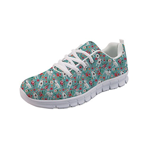 Bull Beautiful Shoes Design Terrier Women's Flowers Nopersonality Fashion Casual Sport Sneakers nABRqaxz