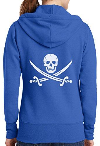 Sale-Womens Pirate Skull Full Zip Hoodie, Royal, 3X