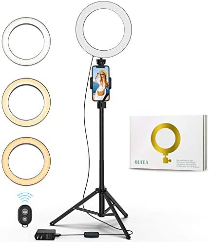 "9"" Selfie Ring Light with Tripod Stand and Phone Holder LED Beauty Lights for YouTube Video Make Up Live Stream Photography Vlogging"