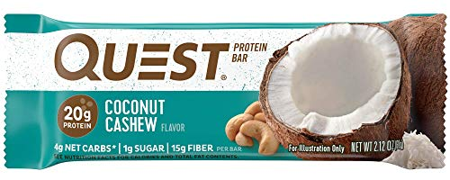 - Quest Nutrition Coconut Cashew Protein Bar, High Protein, Low Carb, Gluten Free, Soy Free, Keto Friendly, 12 Count