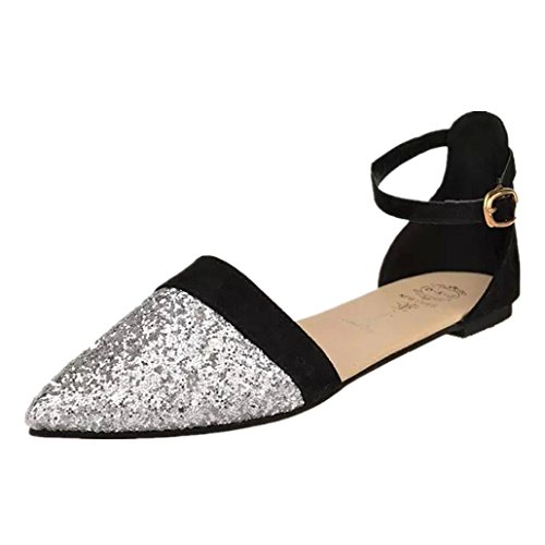 Elegant Sandals Strap Shoes Pointed Toe Ankle Clode® Sexy Flat Shoes Black Women's dqvwFdS7