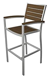 """46"""" Earth-Friendly Recycled Outdoor Bar Chair - Teak Brown with Silver Frame"""