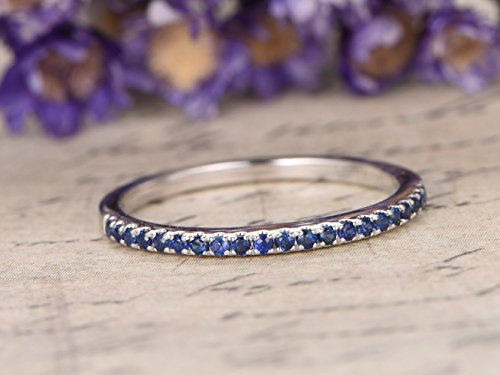 Natural Genuine Blue Sapphire Wedding Band Solid 14k White Gold Half Eternity Stacking Ring Engagement Ring Minimalist Thin September Birthstone Bridal Anniversary Gift Jewelry for ()