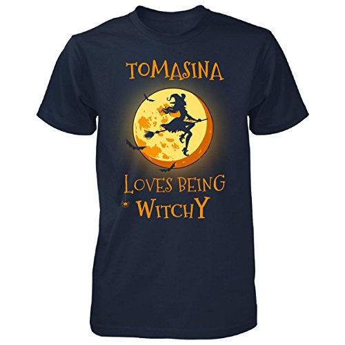 Tomasina Loves Being Witchy. Halloween Gift - Unisex Tshirt Navy (Tomasina Halloween)