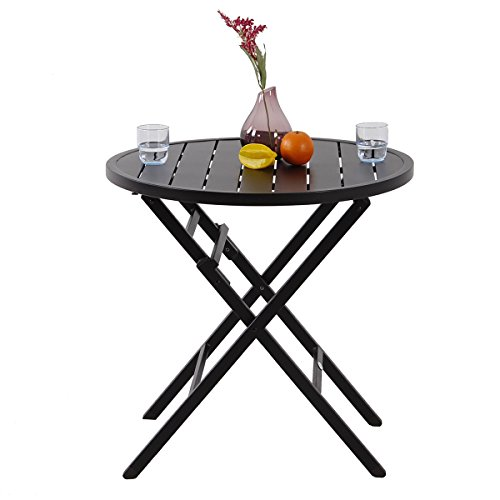PHI VILLA Large Outdoor Patio Metal Portable Bistro Table , Round Folding Dining Table - Dia.28.1''x H27.6'' by PHI VILLA