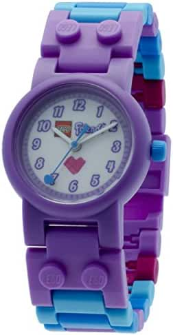 LEGO Friends Olivia Kids Buildable Watch with Link Bracelet and Minifigure | purple/white | plastic | 28mm case diameter| analog quartz | boy girl | official
