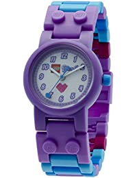 LEGO Friends Olivia Kids Buildable Watch with Link Bracelet and Minifigure | purple/blue | plastic | 28mm case diameter | analog quartz | boy girl | official