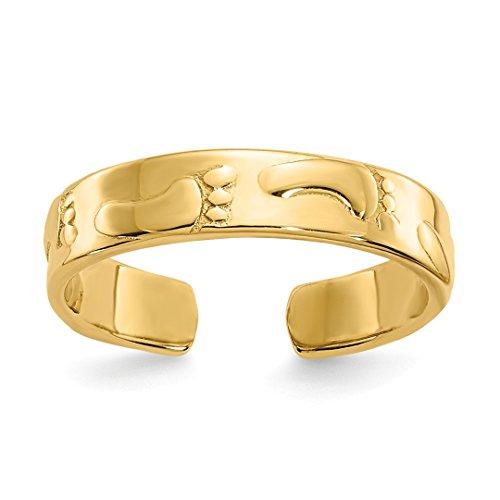 14k Ring Celtic Toe (14k Yellow Gold Footprints Adjustable Cute Toe Ring Set Fine Jewelry For Women Gift Set)
