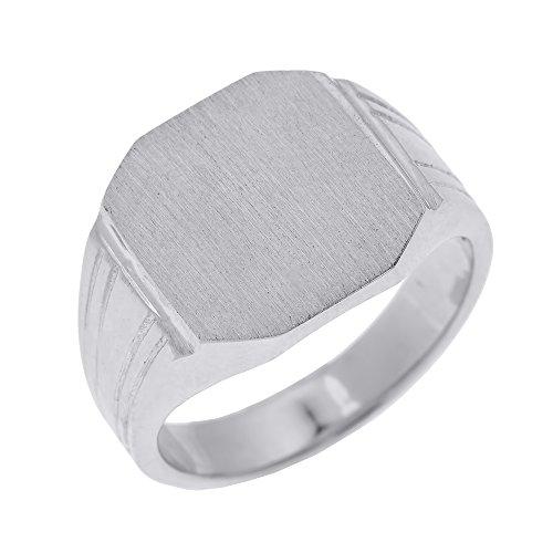 (Men's 14k White Gold Custom Engravable Octagon Top Signet Ring (Size 16))