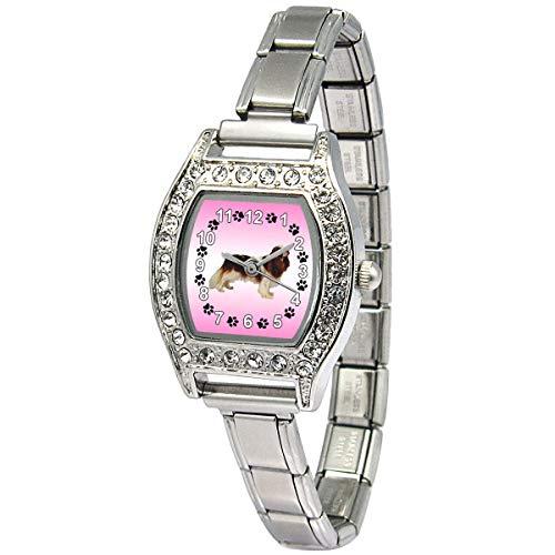 (Timest - Cavalier King Charles Spaniel - CZ Womens Stainless Steel Italian Charms Bracelet Watch BJ1118)