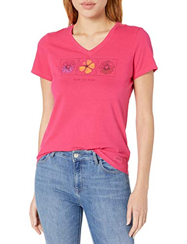 Life is Good Women's Crusher Vee Lig Three Flowers Tee, Pop Pink, Large (Stores Life Good Is T-shirts)