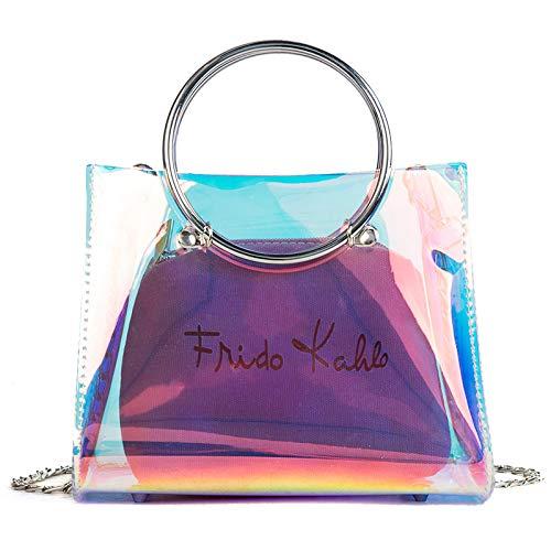 Carta Mujer de Color Bolso Paquete Bolsa de Lentejuela impresión Tendencia gelatina Cuadrada Transparente láser Bolsa pequeña Costura de Contraste Retro a5WXxYXq
